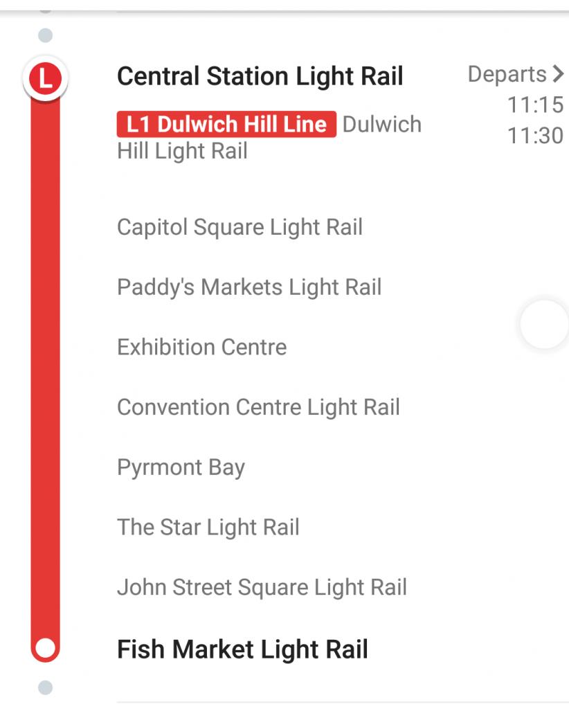 Fish Market light railway timetable
