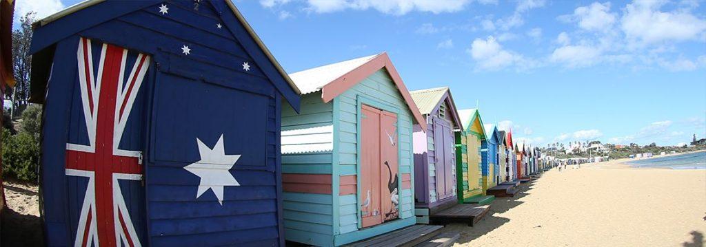 สถานที่ท่องเที่ยวเมลเบิร์น Bathing Box บนหาด Brighton